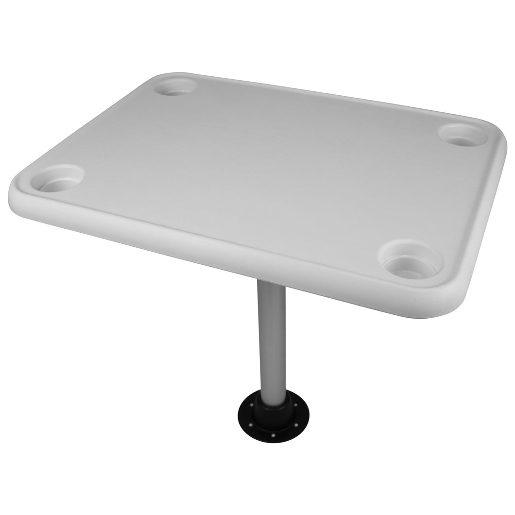 Wise 8WD944 Rectangular Pontoon Table w/ Recessed Cupholders - White