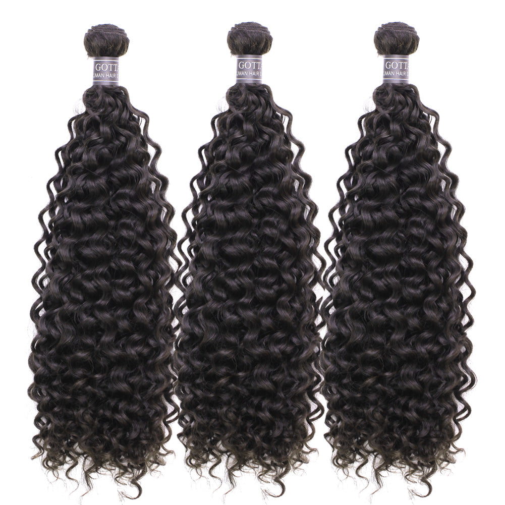 8A Grade Jerry Curly 3 Bundles With 4x4 Lace Closure(Free/Middle/Three Part) Natural Color