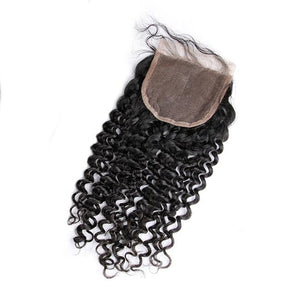 8A Grade Straight 3 Bundles With 4x4 Lace Closure(Free/Middle/Three Part) Natural Color