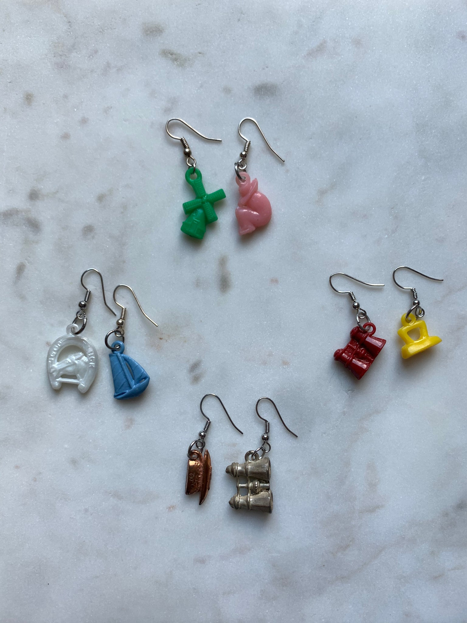 ORIGINAL CRACKER JACK BOX TOKEN EARRINGS | SET 4 OF 4