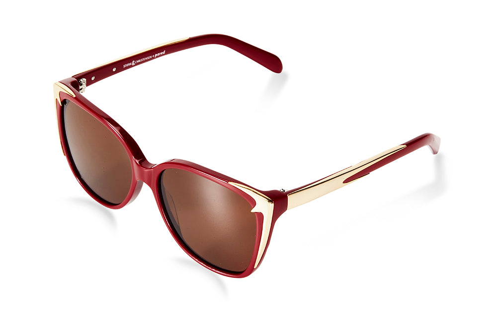 SWALLOW EYE01 | Burgundy/Gold W/ SOLID BROWN LENSES