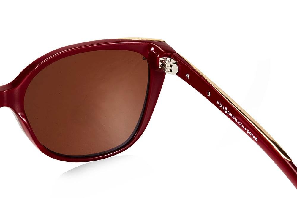 SWALLOW EYE01 | Oxblood/Gold W/ SOLID BROWN LENSES
