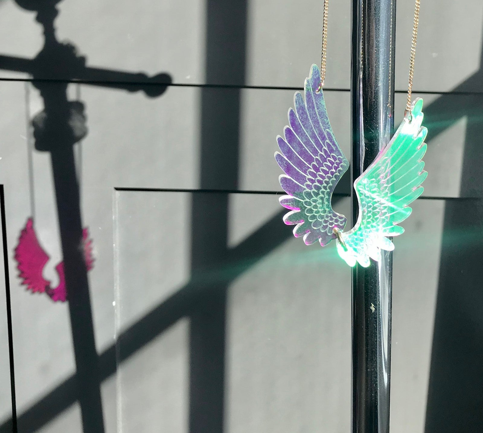 Iridescent Angle Wings Necklace