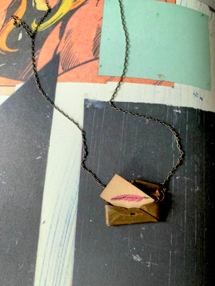 Vintage envelope necklace