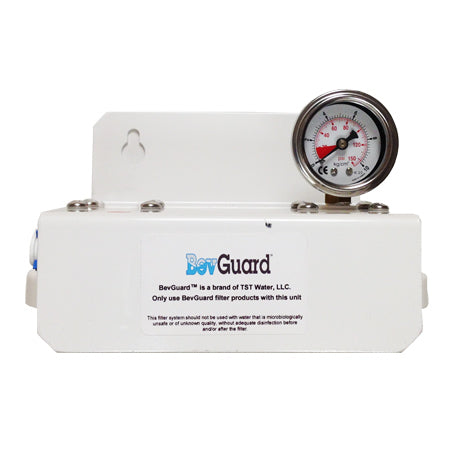 "BevGuard BGC Dual, 105033, Cuno AquaPure Alternate Twin Parallel Head and Gauge, 3/8""FQC"