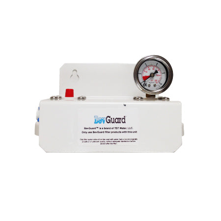 "BevGuard BGC Dual, 105035, Cuno AquaPure Alternate Twin Parallel Head and PR and Gauge, 3/8""FQC"