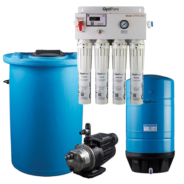 OptiPure BWS350/50 HF, 164-14376, 350-400GPD Blended Water Reverse Osmosis, 50GAL Tank, 1HP Pump