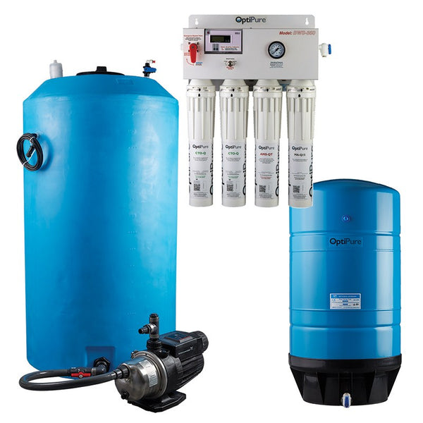 OptiPure BWS350/175 HF, 164-14380, 350-400GPD Blended Water Reverse Osmosis, 175GAL Tank, 1HP Pump