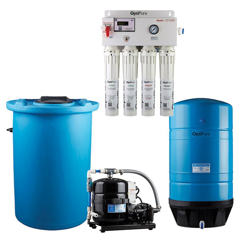 OptiPure OP350/50 HF, 164-14451, 350GPD Reverse Osmosis System, Mineral Addition, 50GAL Tank, 1HP Pump