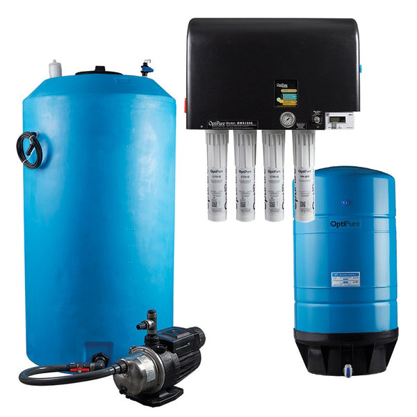 OptiPure BWS1500/175 HF, 164-15575, 1500GPD Blended Water Reverse Osmosis, 175GAL Tank, 1HP Pump