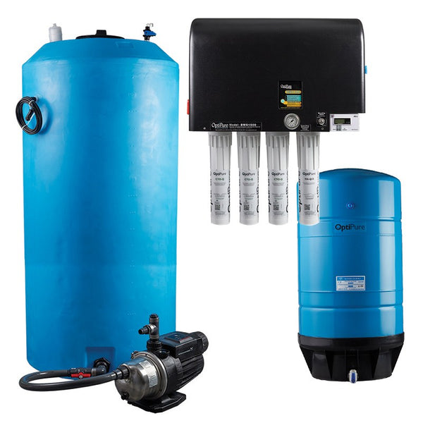 OptiPure BWS1500/300 HF Plus, 164-15581, 1500GPD Blended Water Reverse Osmosis, 300GAL Tank, 1HP Pump