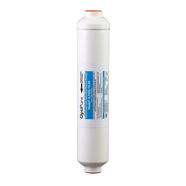 OptiPure ILTOS-10.38, 252-70220, 10 inch In-Line Carbon Water Filter, Scale Inhibitor, 3/8 inch