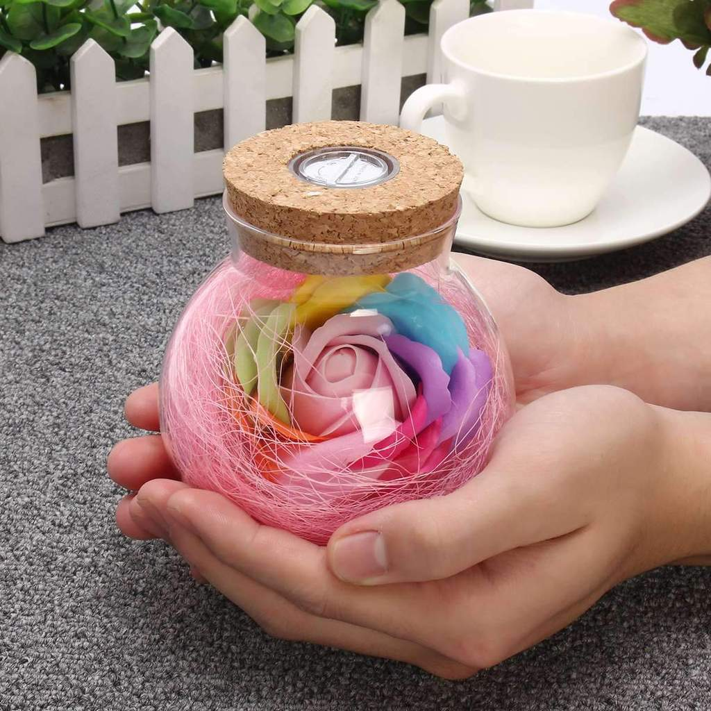 Beautiful LED Rose Bottle Lamp