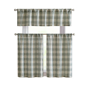 VCNY Country Plaid 3 Pc. Kitchen Curtain Tier & Valance Set - Assorted Colors