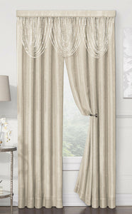 Regal Home Luna Beaded Valance & Metallic Curtain Panels Set - Assorted Colors