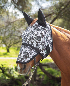 Dandy Papercut Floral  Fly Mask with Ears and Detachable Nose