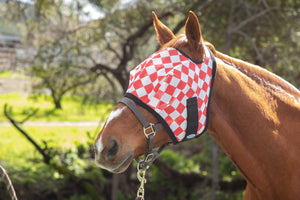 Racer Red Check Fly Mask with Fleece Binding