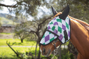Racer Harlequinn Fly Mask with Detachable Nose
