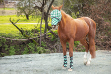 Racer Green Check Fly Mask with Detachable Nose
