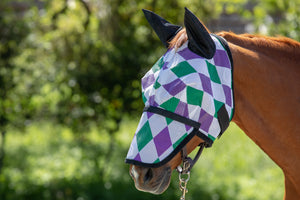 Racer Harlequinn Fly Mask with Ears and Detachable Nose