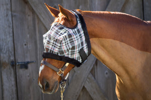 Dandy Fly Mask Mackey Plaid  with Fleece Binding