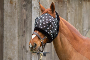 Dandy Fly Mask Dotty  with Fleece Binding