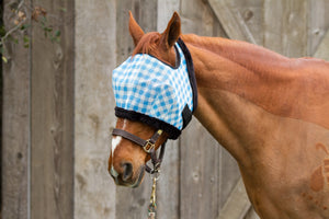Modern Vintage Fly Mask Turq Gingham with Fleece Binding