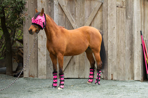 Modern Vintage Fly Mask Pink Dotty with Fleece Binding