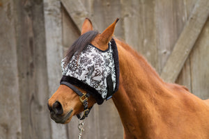 Dandy Fly Mask Papercut Floral  with Fleece Binding