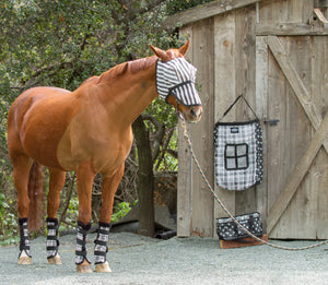 Dandy Fly Mask B & W Stripey with Detachable Nose