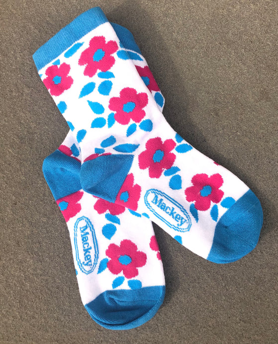 BAMBOO CREW SOCK -MODERN VINTAGE POPPY FLORAL