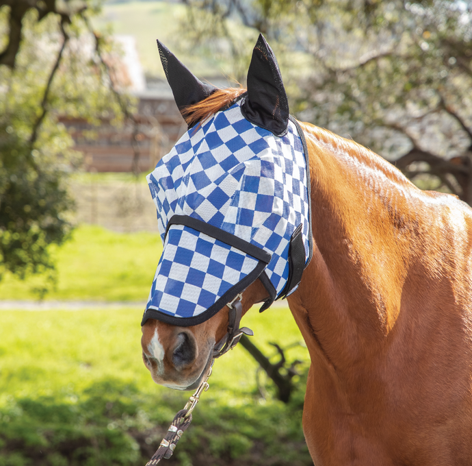 Racer Blue Check Fly Mask with Ears and Detachable Nose
