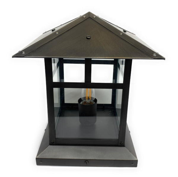 Martinique-Brique IX Solid Brass Craftsman Pilaster Lantern Outdoor Lighting