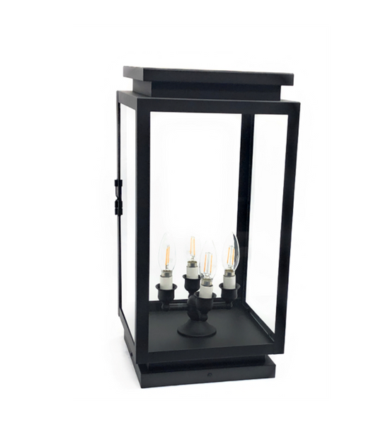 Marsella Solid Brass Contemporary Pilaster Lantern Outdoor Lighting