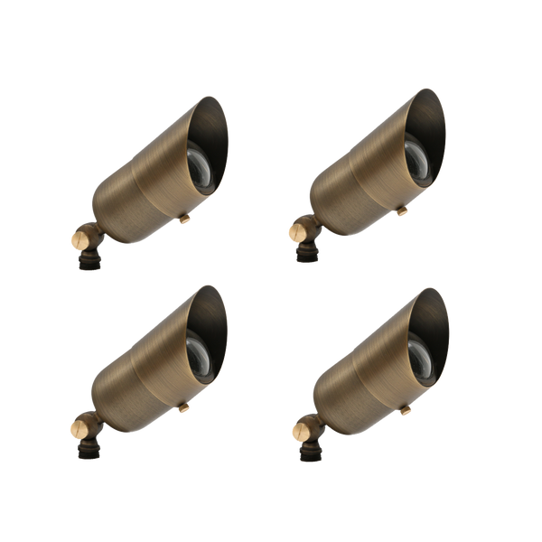 Combo Pack 4 Elysee Solid Brass Spot Light - Outdoor Landscape Lighting