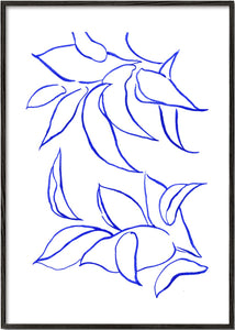 Blue paint study - Leaves