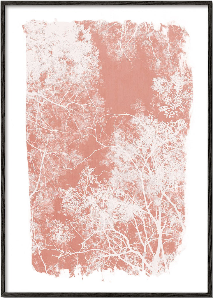 Tree foliage on coral paint