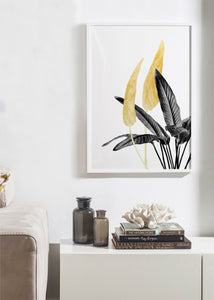 Bird of Paradise Plant Black, White and Gold 01