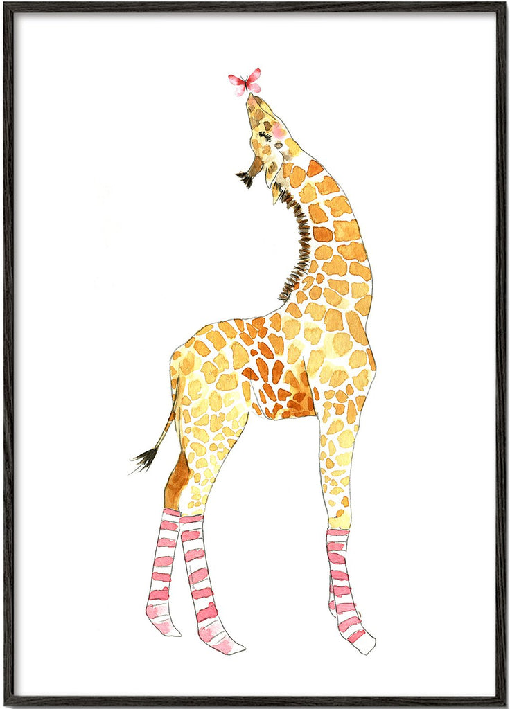Giraffe with butterfly