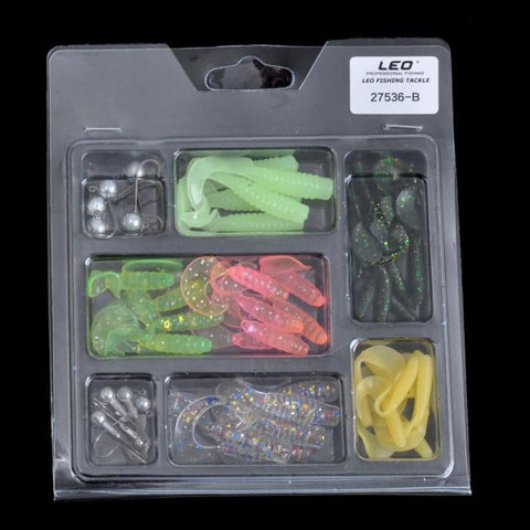 Hot 42pc Fishing Lures baits+10pc hooks Sinking Soft Silicone  Fish Lure Swim Baits