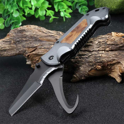 Multifunctional Liner Lock Foldable Knife with Rope Cutter