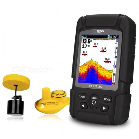 "LUCKY FF718LiC 2.8"" LCD Fish Finder Monitor Sonar Transducer"