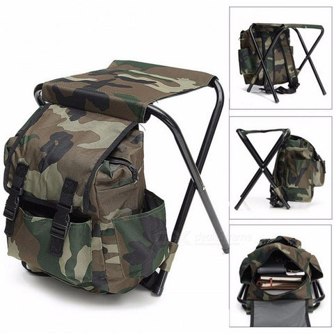 Foldable Fishing Chair Backpack Fishing Equipment Camouflage Oxford Cloth Metal Tube Portable Bifunctional Fishing Bag And Chair