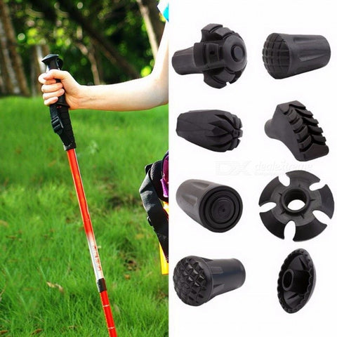 Trekking Pole Adjustable Walking Stick Hiking Accessory Hike Telescope Stick Nordic Walk Camp Ski Foot Carbon Fiber Crutch Bar Round Feet
