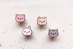 Mini Kawaii Animals Board Filler Enamel Pin Set