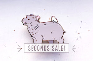 Baby Hippopotamus Enamel Pin (Seconds)