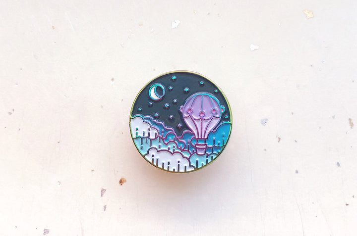 Balloon and Moon Enamel Pin