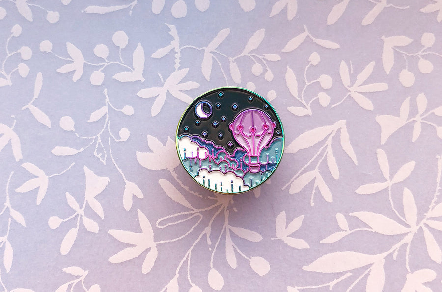 Balloon and Moon Pin