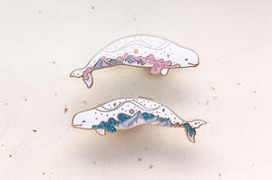 Mountain Sky Beluga Whales Enamel Pin Set