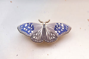 Striped Blue Crow Butterfly (Euploea mulciber) Enamel Pin